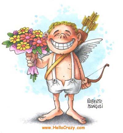 Cupido con las flores