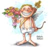Cupid with flowers