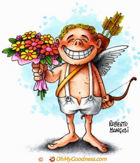 : Cupid with flowers