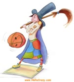 Witch playing Baseball