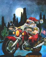 Santa's coming by motorbike